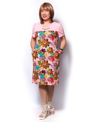 Платье розовое в цветочный принт   3436374