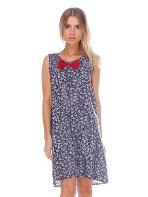 Платье черное в цветочный принт | 3423822