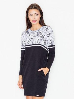 Платье черное в цветочный принт | 3440423