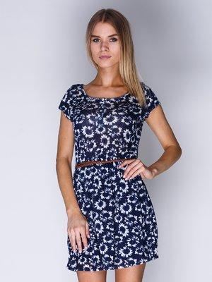 Платье синее в цветочный принт | 1899422