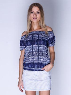 Блуза синяя с принтом | 3010391