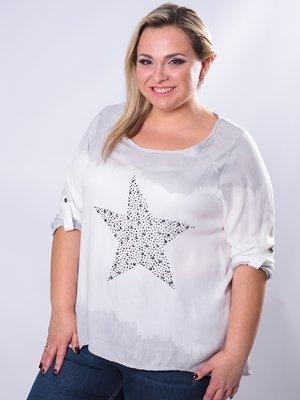 Блуза біло-сіра з декором   3450628