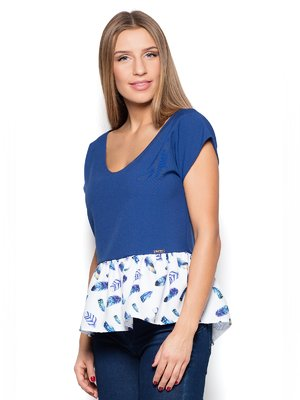 Блуза синьо-біла з принтом | 3458480