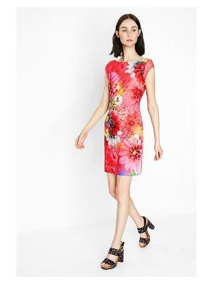 Платье красное в цветочный принт | 3132057