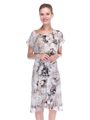Сукня сіра в принт | 3455619