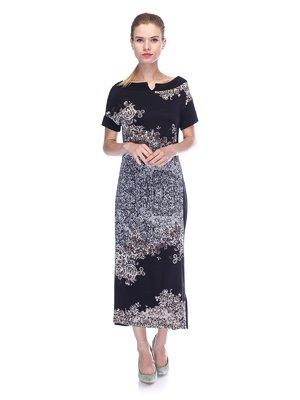 Сукня чорна в принт | 3455620