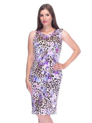 Сукня фіолетова в принт | 3455610