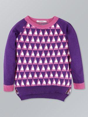 Джемпер фиолетовый с принтом | 3472683