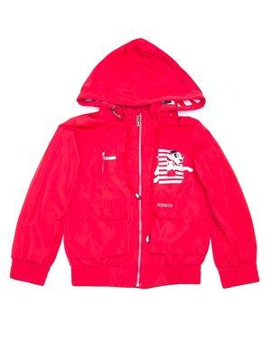 Куртка червона з принтом | 3475357
