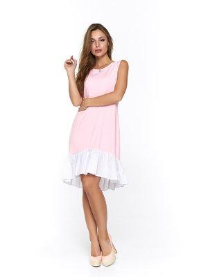 Сукня біло-рожева з принтом | 3474956