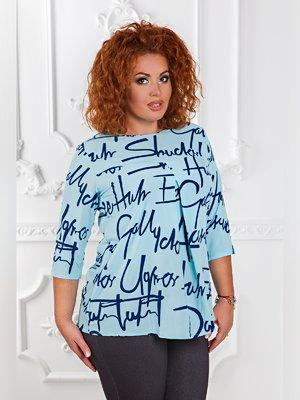Блуза голубая с принтом | 3477633