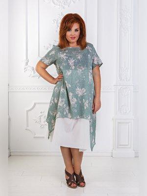 Платье цвета хаки с принтом | 3477664