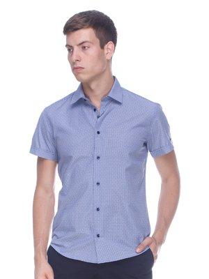 Рубашка голубая в принт | 3468690