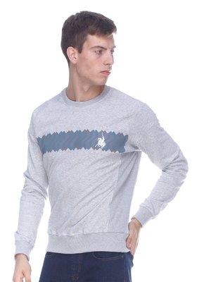 Джемпер серый с принтом | 3147600