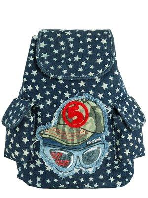Рюкзак синій у принт | 3256501
