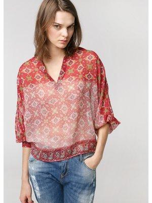 Блуза красная в принт | 2354436