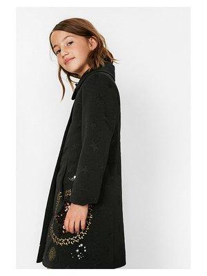 Пальто чорне в принт | 3487717