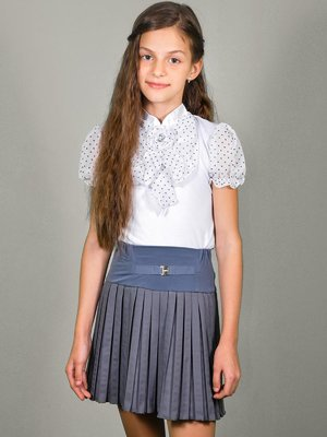 Блуза біла в горошок | 3435554