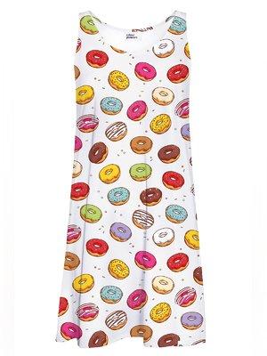 Сукня біла в пончики | 3509701