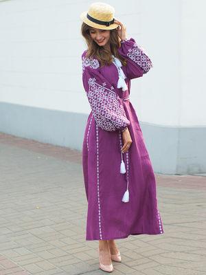 Платье фиолетовое с вышивкой | 3513275