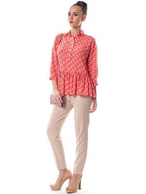 Блуза коралового кольору в принт   1754110