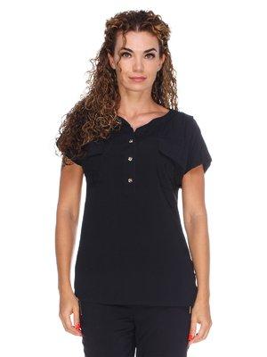 Блуза чорна з легкого штапелю | 3278014