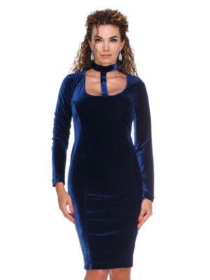 Платье бархатное темно-синее | 3130153