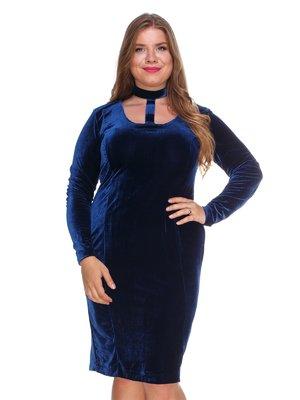 Платье бархатное темно-синее | 3130154