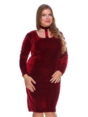 Платье бархатное темно-вишневое | 3132760
