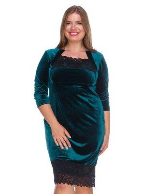 Платье бархатное изумрудное | 3207616