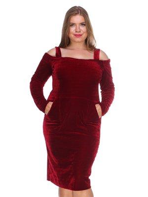 Платье бархатное красное | 3158671