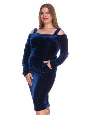 Платье бархатное темно-синее | 3158677