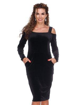 Платье бархатное черное | 3130157