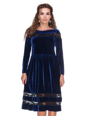 Платье бархатное темно-синее | 3202220