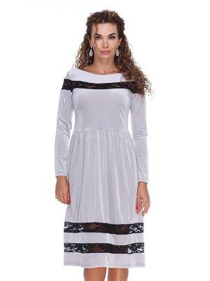 Платье бархатное серое | 3202214