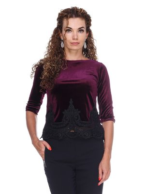 Блуза оксамитова фіолетова | 3158710