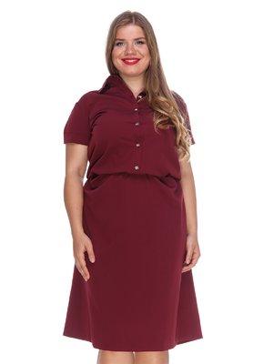 Сукня кольору марсала зі зручним поясом на резинці   3315327