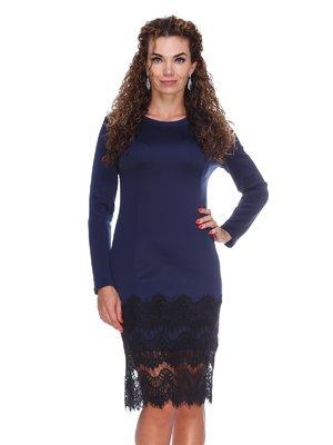 Платье с рельефами и дорогим кружевом | 3086333