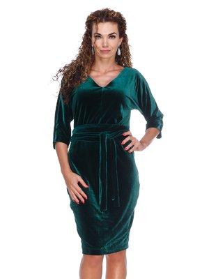 Платье бархатное изумрудное | 3103628