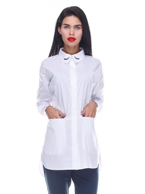 Сорочка біла з принтом | 3524523