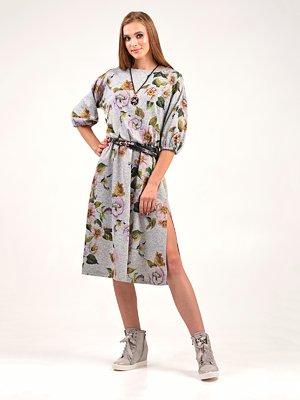 Сукня сіра з квітковим принтом | 3547253