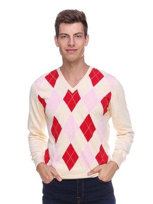 Пуловер бежевий в ромби | 1918795