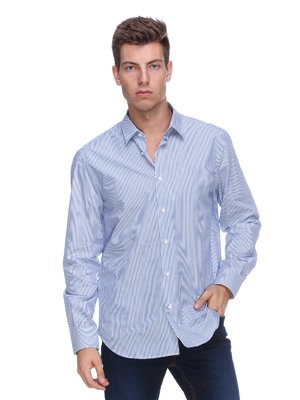 Сорочка блакитна у вузьку смужку - Pierre Balmain - 283475