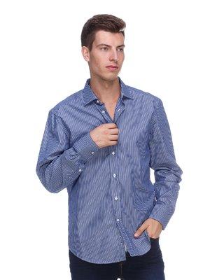Сорочка синьо-біла в вузьку смужку | 453800