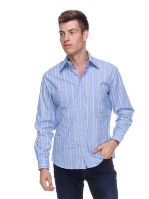 Сорочка блакитна в смужку   563210
