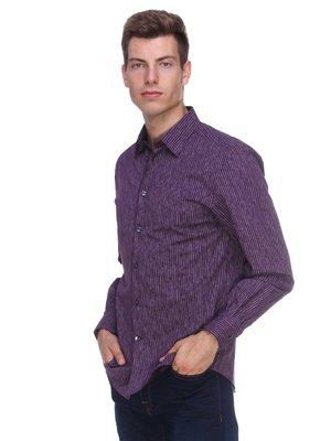 Сорочка фіолетово-біла в вузьку смужку | 388396