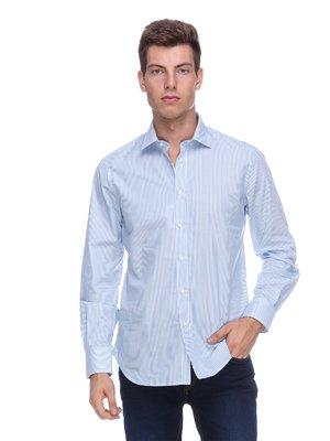 Сорочка блакитна у вузьку смужку - Pierre Balmain - 314022