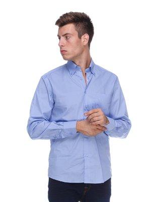 Сорочка блакитна з накладною кишенею | 313995