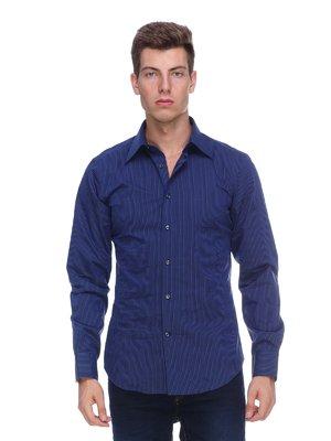 Сорочка синя у вузьку смужку | 453794