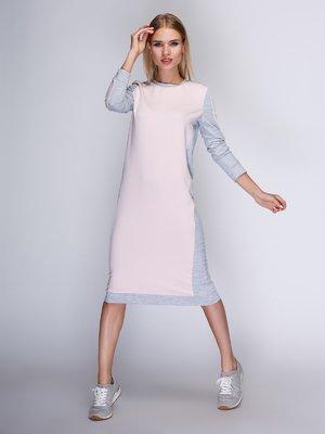 Платье цвета пудры с серыми вставками | 3554098